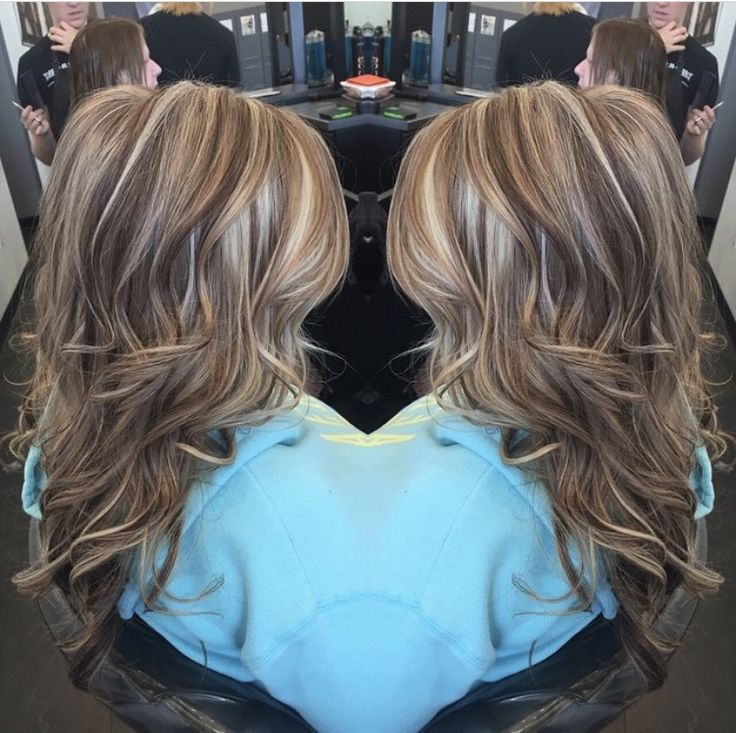 Highlights lowlights. Brown. Blonde. Dimensional Hair By @hair_by_megann