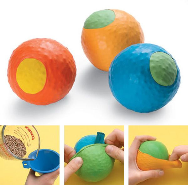 """bean bag ball... if a small funnel isn't available, you can cut the bottom off of a small water bottle.  As a Juggler (and teacher of Juggling) I recommend a """"heft test""""... making certain that the ball has a good weight (AND fits well in the hand of the kiddo)."""
