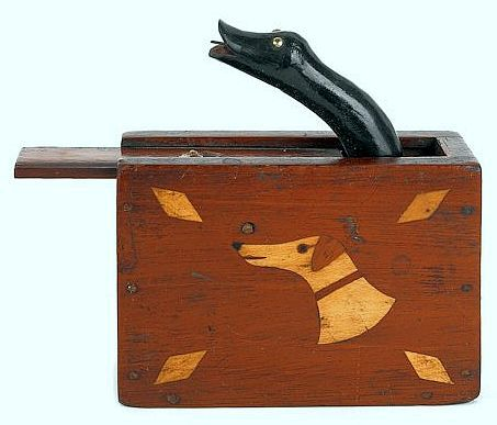 American mahogany trick box, late 19th C. - Inlaid hound, shield, and diamonds with a sliding door that opens to reveal a black snake, 2.6 h., 3.6 Inches.