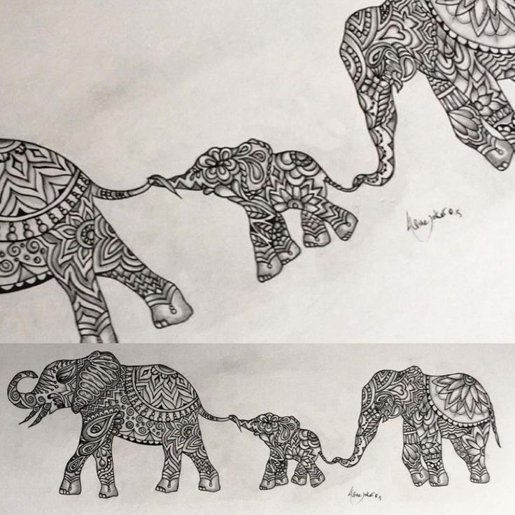Original Indian elephant Zentangle tattoo design By Alpinejoker.