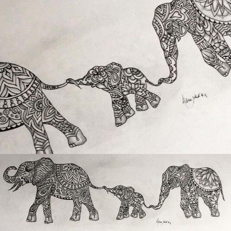Original Indian elephant Zentangle tattoo design By Alpinejoker.