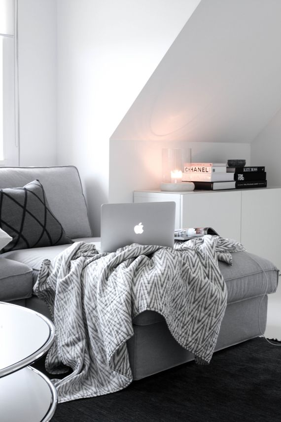 black, white, grey, living room, sideboard, couch, sofa