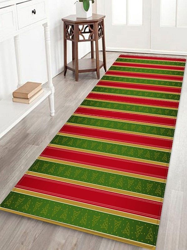 Two Tone Striped Print Waterproof Area Rug Christmas Pinterest
