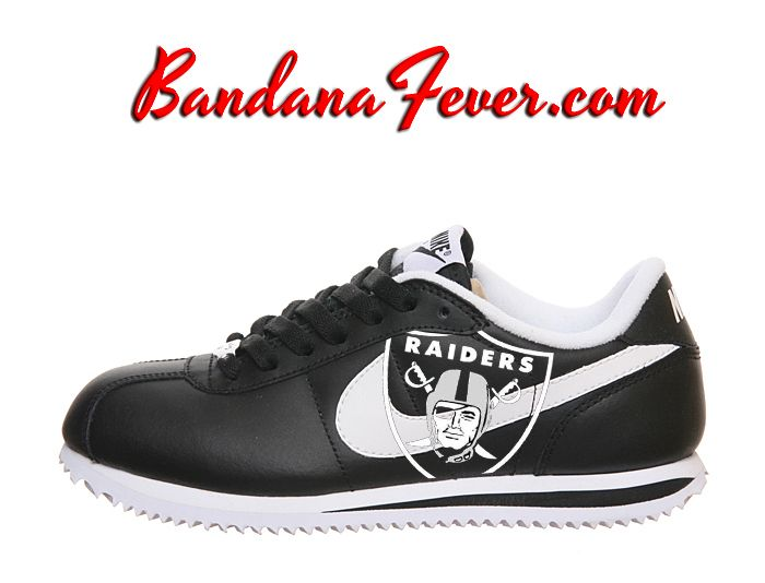 "Bandana Fever - Nike ""Oakland Raiders"" Cortez Leather Black/White by Bandana Fever,  (http://www.bandanafever.com/nike-oakland-raiders-cortez-leather-black-white-by-bandana-fever/)"