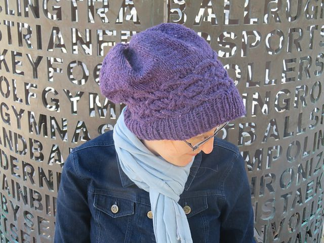 This hat originally came from me playing around with different cable swatches. I loved this one so much; I wanted to feature it on something!