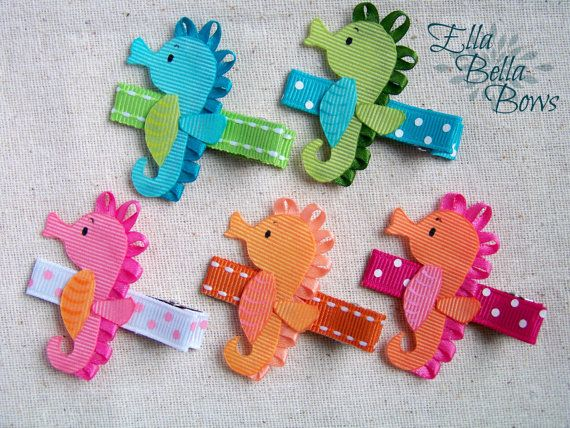 Seahorse Ribbon Sculpture Hair Clip handmade in by EllaBellaBowsWI