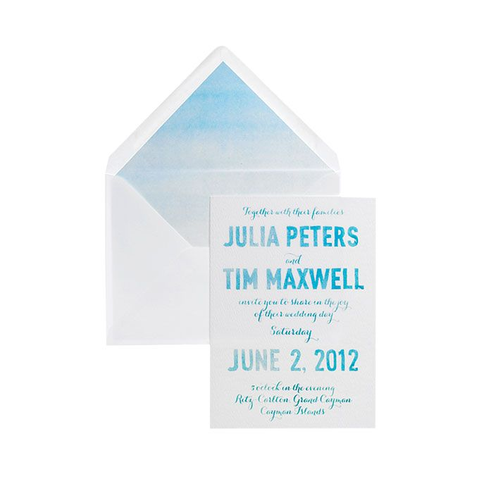 Brides.com: Style Inspiration: Tropical Beach Wedding. Invitations, $1,600 for 100 (includes RSVPs and lined envelopes), Swiss Cottage Designs.
