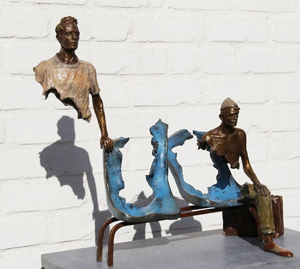 Bronze sculpture by French artist and sculptor Bruno Catalano. The special feature of Bruno Catalano's sculptures is the lacking mid section.