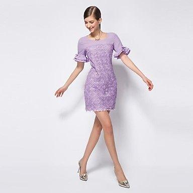 OSA Vrouwen Koreaanse Kralen volants mouwen Vintage Slim Bodycon jurk – EUR € 49.63