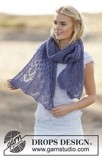 """Fleur de Provence - Knitted DROPS stole with lace pattern in """"Brushed Alpaca Silk"""". - Free pattern by DROPS Design"""