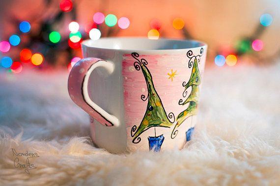 Christmas coffee mug Hand painted tea mugs coffee mug gift