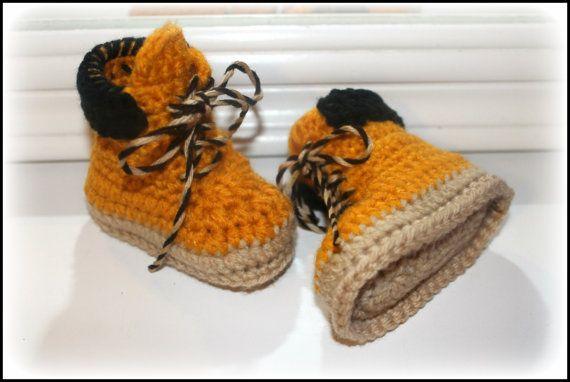 Uncinetto bambino stivali da lavoro, costruzione lavoratore stivali, stivali Timberland, bambino doccia dono, ragazzo scarpe, foto prop, regalo di Natale, regalo del bambino ragazzo