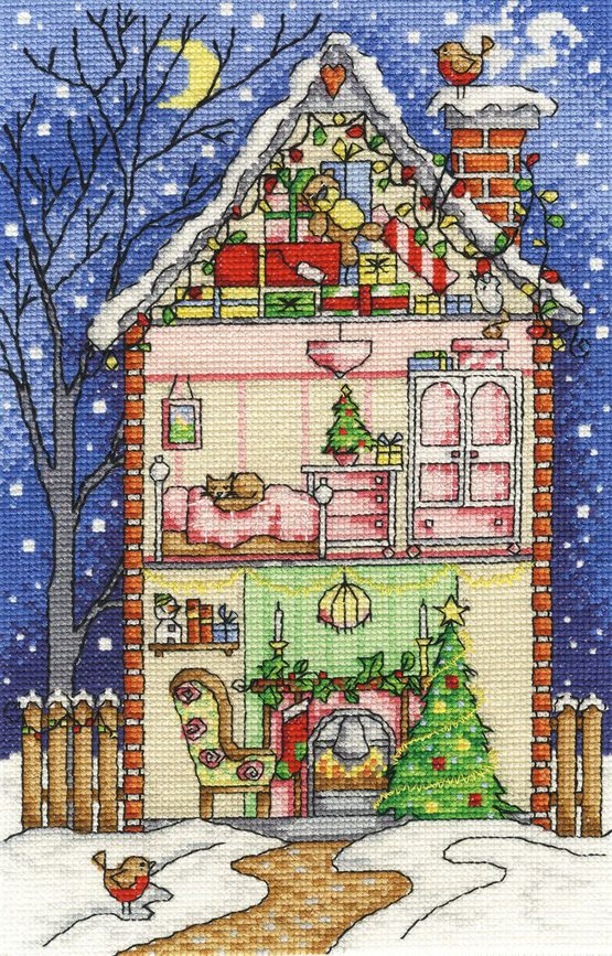 Christmas At Home Cross Stitch Kit £22.50 | Past Impressions | DMC                                                                                                                                                                                 More