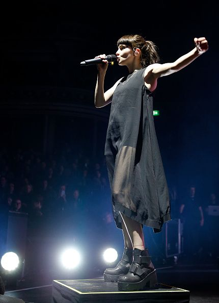 Lauren Mayberry. Dress. Boots.