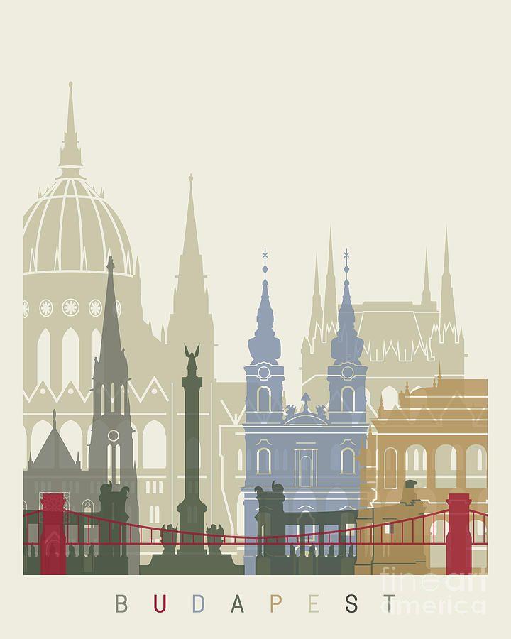 Budapest Painting - Budapest Skyline Poster by Pablo Romero