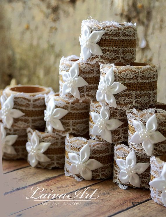 Wedding Table Décor Burlap Wedding Napkin Rings Rustic by LaivaArt