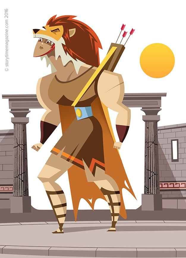 Hercules and the Lion in Storytime Issue 24 – an awesome Greek myth illustrated by Ricardo Fernandez (http://ricardofernandezilustrador.blogspot.co.uk) ~ STORYTIMEMAGAZINE.COM