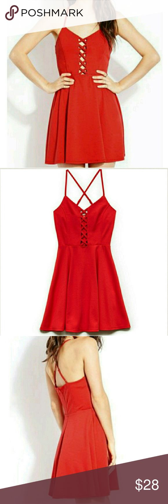 New FOREVER 21 Medium red dress New FOREVER 21 Medium red dress Red Crisscross Fit And Flare Dress. Brand new without tags. Forever 21 Dresses