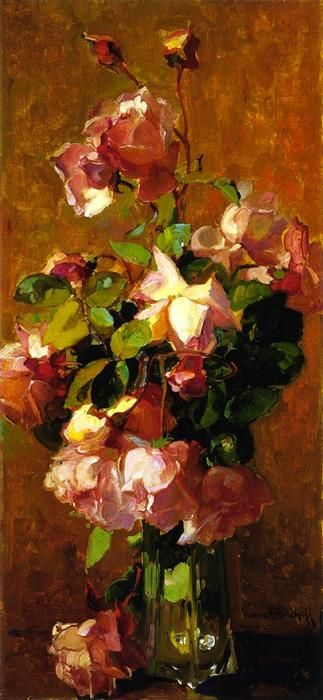 Roses, Oil On Canvas by Franz Bischoff (1864-1929, Austria)