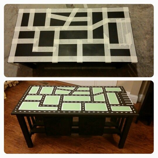 Up-cycle coffee table into car table! @alishamangin for all the extra furniture you ended up with lol