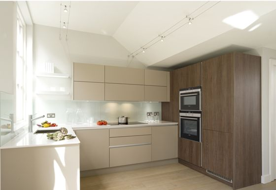 Charles Baker Place, Wandsworth.  Urban Life Stone Grey & Santana Oak units, White Storm stone worktops.
