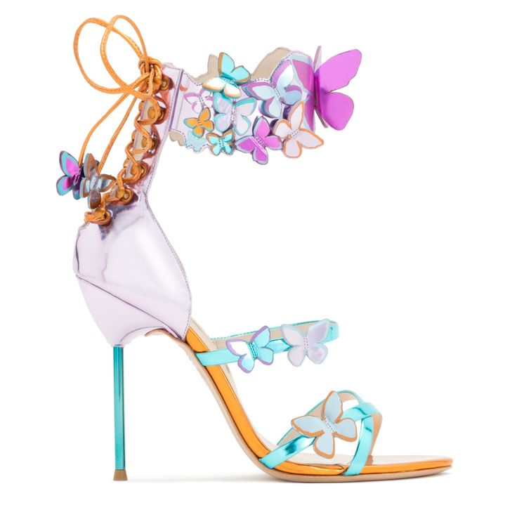 Sexy rosa metallic sandal with turquoise straps, embellished with printed and 3D Butterflies and finished with a lace-up back on a turquoise pin heel. This sandal will make you stand out from the crowd!