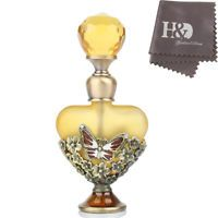 Vintage Yellow Butterfly Crystal Metal Empty Perfume Bottle Stopper Lady Gift