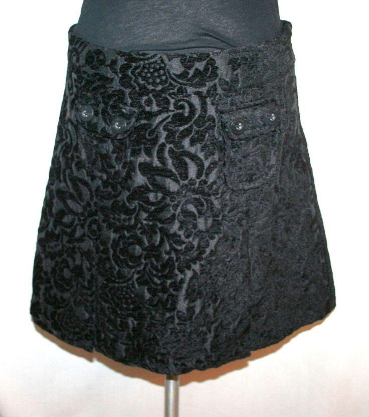 Desigual Black Flocked Velvet A-Line Skirt Sz 40 #Desigual #ALine