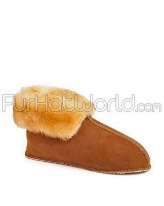 Sheepskin Slippers with Roll up Cuff and Soft Sole