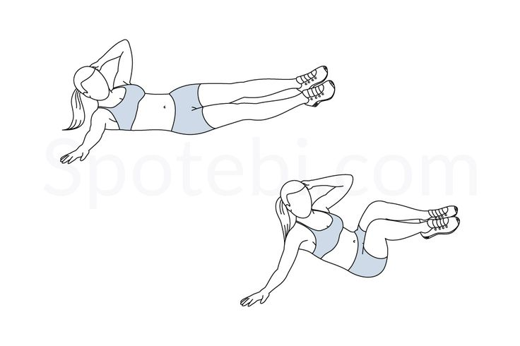 Oblique crunch exercise guide with instructions, demonstration, calories burned and muscles worked. Learn proper form, discover all health benefits and choose a workout.