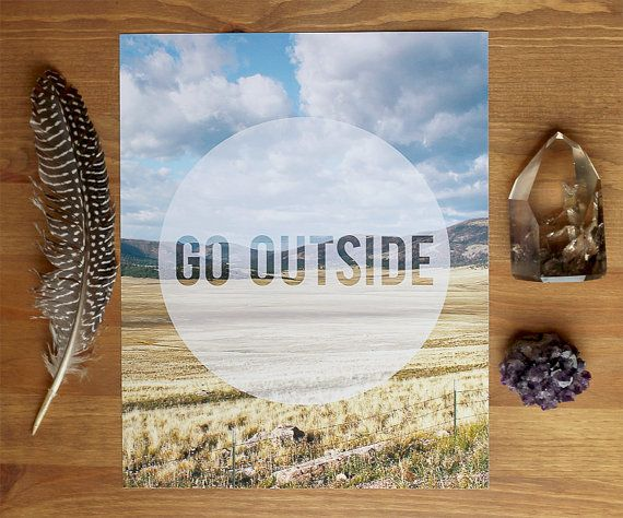 Today's homework: GO OUTSIDE and come back here and tell us all about it. (I'm serious about this part. Come back and let me know what you find.) :: Art Print by BubbyAndBean on Etsy