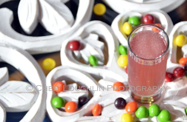 Skittle Shot is a fun candy themed shot ideal for Halloween parties, celebrating PINK for Breast Cancer Awareness month and of course raising a toast to National Vodka Day. – photo credit to Mixologist Cheri Loughlin, The Intoxicologist