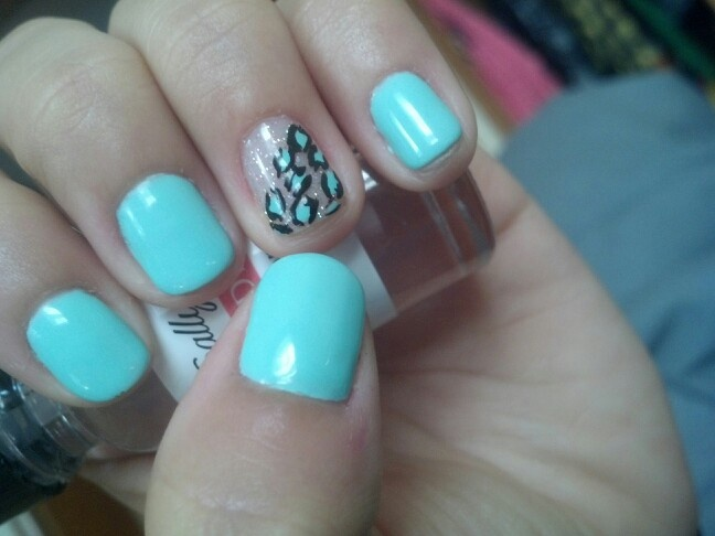 Mint nails with cheetah and glitter accent on ring nail :) LOVE.
