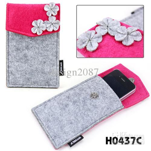 cute fashion felt fllower decor grils' iphone bag iphone sleeve pouch pocket/hot pink with grey