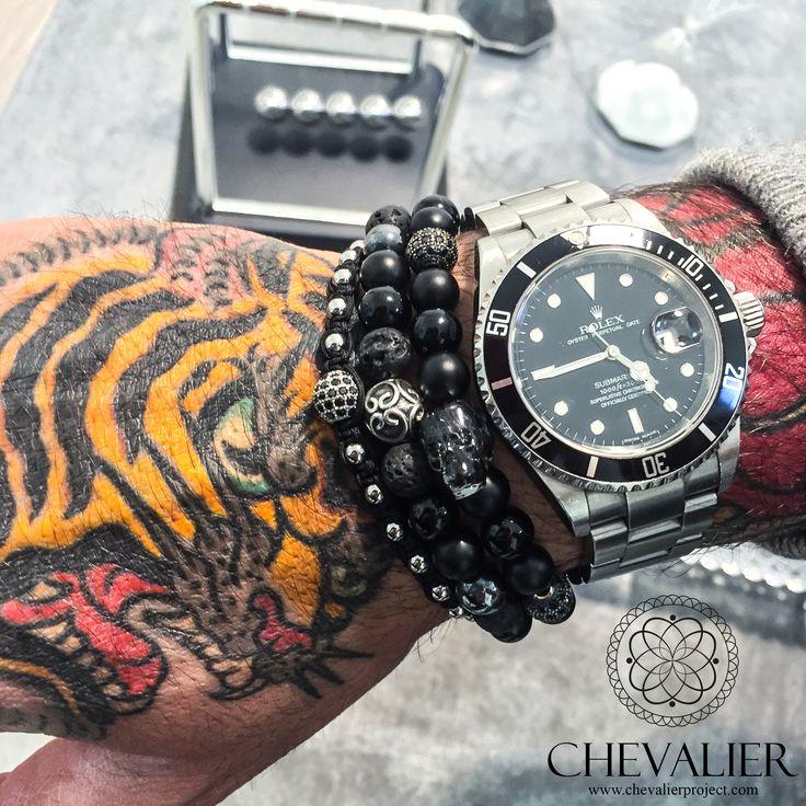 Chevalier combo: White Gold CZ Diamonds Macrame - Black Mirror - Swarovski Skull Nero