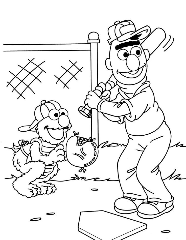 Baseball Sesame Street Coloring Pages | Sesame street ...