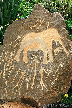 Prehistoric Neolithic African rock art from the Northern Cape showing a hunting scene.