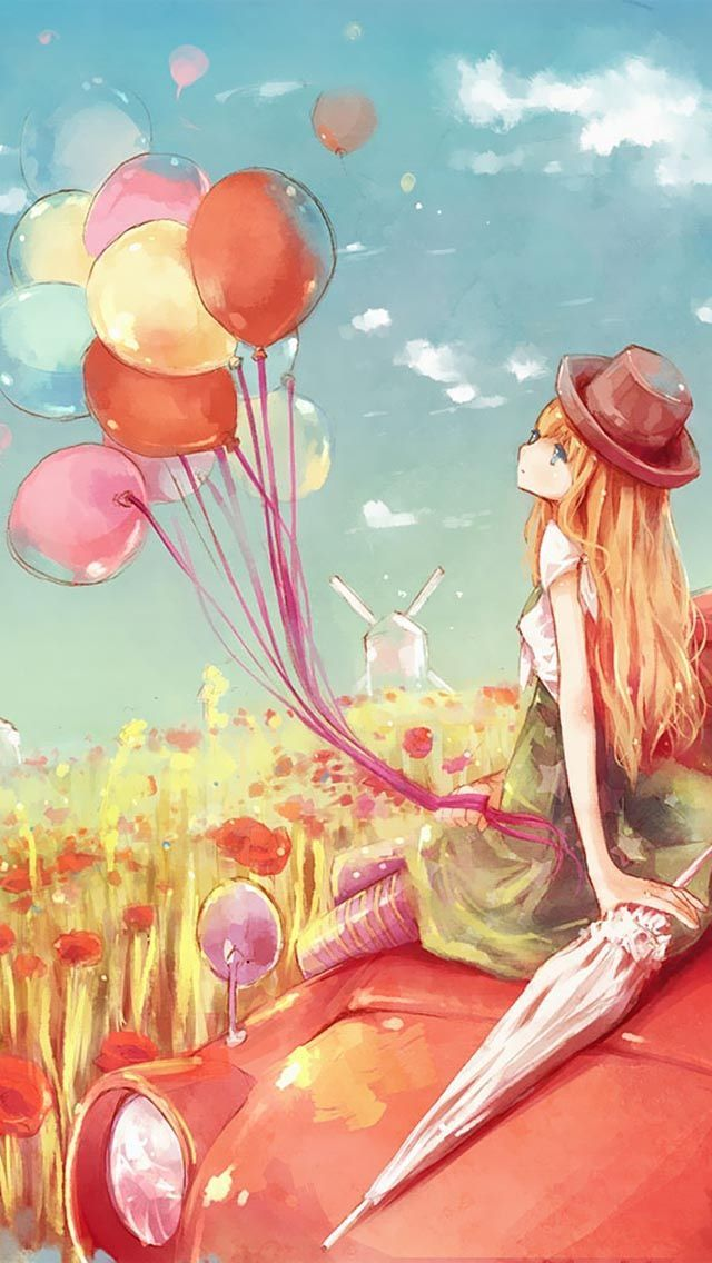 Cute || ballons || sky || blond hair || kawaii || flowers || pretty || car || hat || dress || umbrella