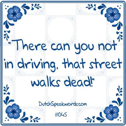 Dutch expressions in English: daar kun je niet in rijden, die straat loopt dood!