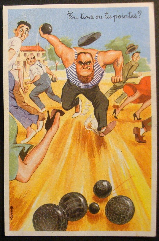 Cpsm 345 carte postale humoristique humour fantaisie for Prix boules de petanque