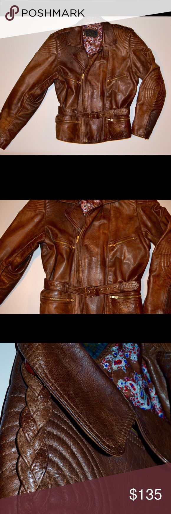 Brown leather Motorcycle Jacket! $85 OBO This is such an awesome jacket! It's gorgeous full leather, lined, YKK zippers, made in Germany, and has some really awesome detail on it! It's perfectly broken in and ready to rock! Jackets & Coats Utility Jackets