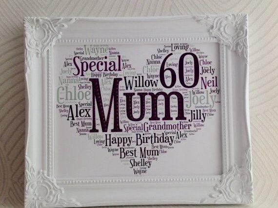 Mums Birthday, Present For Mum, 60th Birthday, Milestone Birthday, personalised…