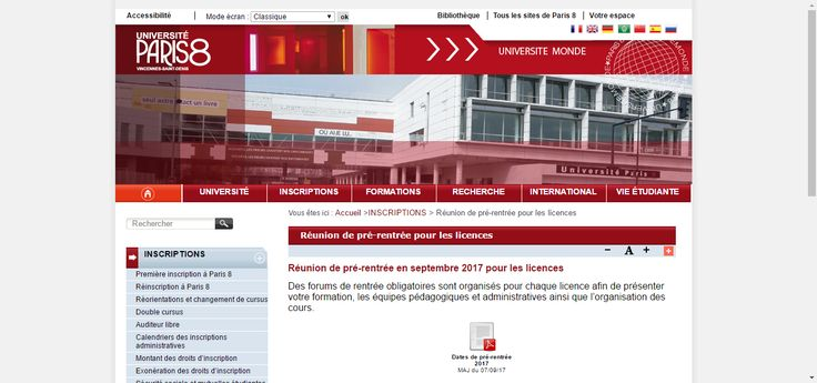 Réunion de pré-rentrée en septembre 2017 pour les licences - Université Paris 8, 2 rue de la Liberté, 93 526 Saint-Denis Cedex