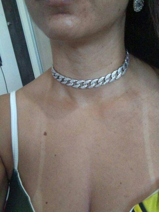 da1d757e9876a white gold-color Statement Cuban Link Chain Choker Necklace adjust ...