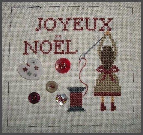 noël - christmas - couture - joyeux noël - point de croix - cross stitch - Blog : http://broderiemimie44.canalblog.com/