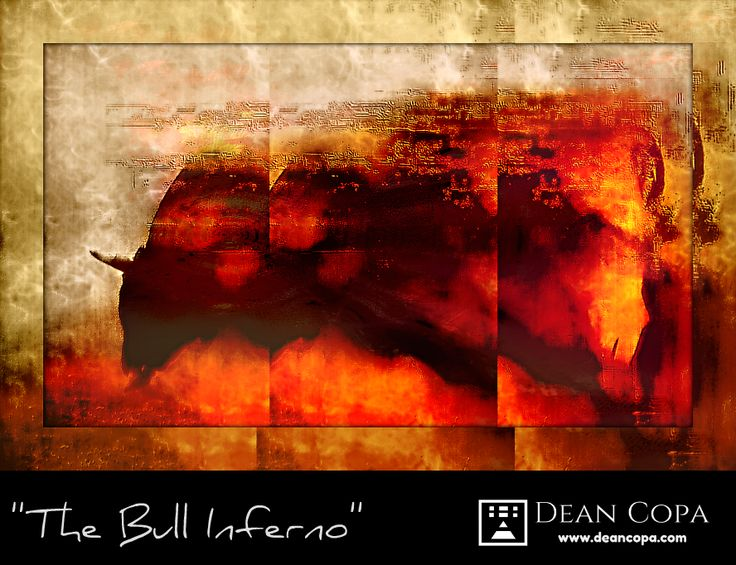''The Bull Inferno'' 2013 by Dean Copa. I decided to make the Anima LS Series, a body of work regarding the animals which they intrigue me so very much. I keep it open as I come back from time to time and make sth new.  This Bull was a 'happy accident' that I accepted gracefully.     #DeanCopa #fine #art #composer #animal #grace #digital #emerging #artist #2013 #artcurator #artcritic #artlover #artcollector