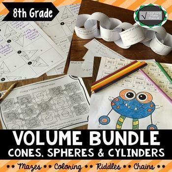 Volume Bundle (Cylinder, Cone & Sphere)Practice finding the volume of cylinders, cones and spheres with this great bundle of self-directed activities. Students will work on solving the volume given radius and diameter problems with a riddle, color by numb