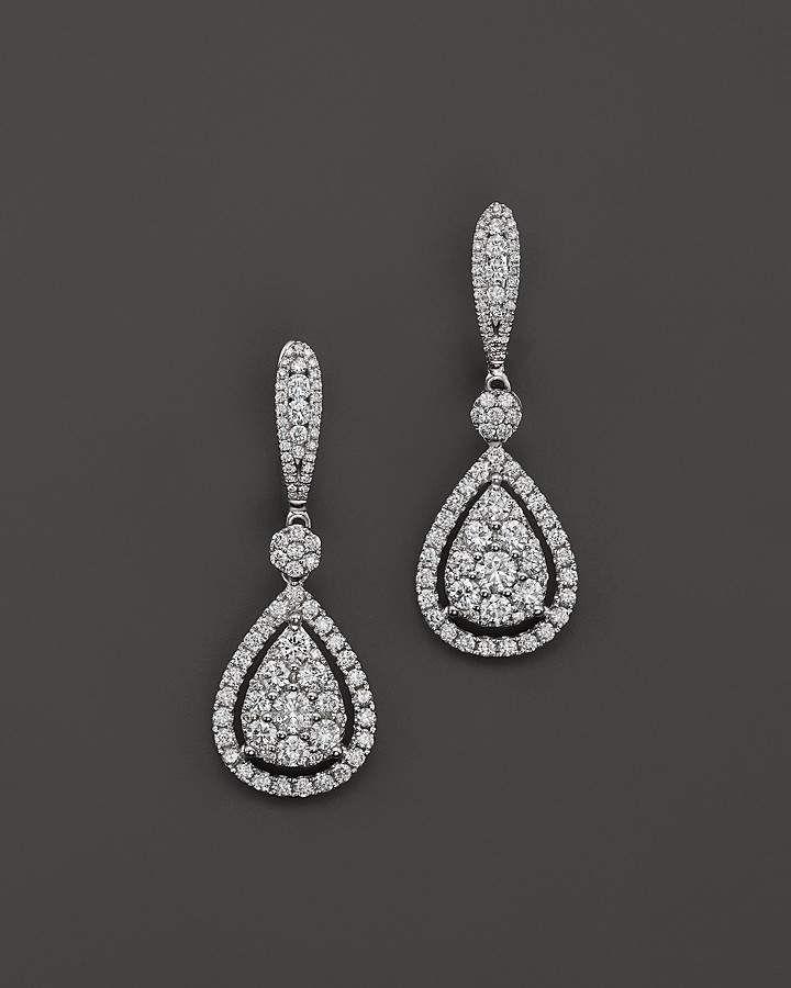 Bloomingdale's Diamond Cluster Teardrop Earrin…