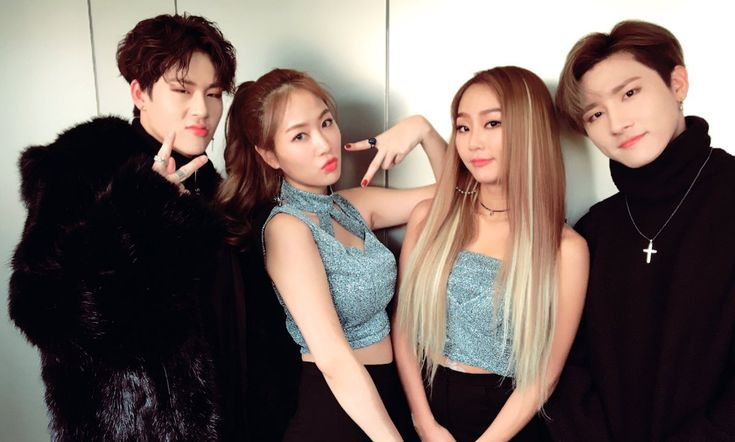 SISTAR's Soyou and Hyorin with MONSTA X's Jooheon and I.M