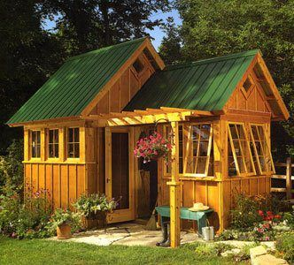 This is the cutest little garden shed I have ever seen! Could even be turned into a craft room away from the house! :)